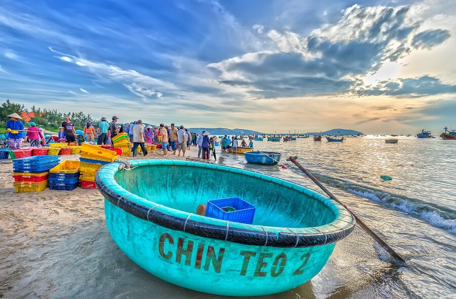 The Vietnamese Seaside Filled With Fishing Boats