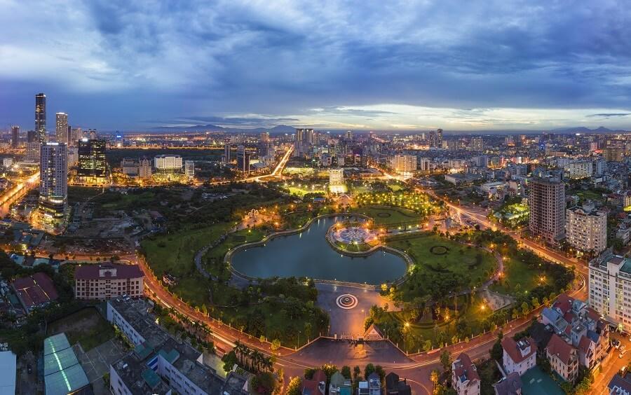 A Stunning Cau Giay Park View in Hanoi, Vietnam
