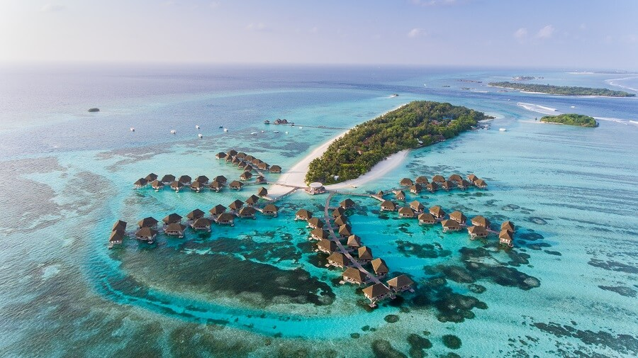 A Breathtaking Aerial View of Islands in the Maldives