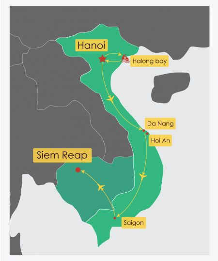 Itinerary Map of 12 Day Vietnam Cambodia Delight Tour, offered by Asia Vacation Group