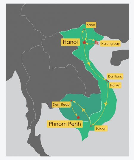 18 Day Trails of Vietnam and Cambodia Itinerary Map, offered by Asia Vacation Group