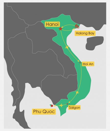 Itinerary Map for 14 Day Vietnam Tour With Phu Quoc Beach Break, offered by Asia Vacation Group