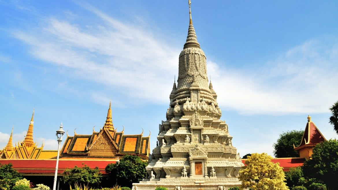 Silver stupa Pagoda in Phnom Penh, Cambodia, included in tours offered by Asia Vacation Group