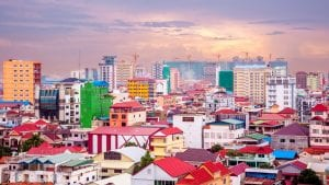 Aerial view of city during sunset in Phnom Penh, Cambodia