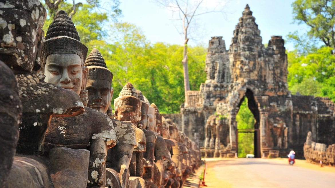 South Gate, Angkor Thom, Siem Reap, Cambodia is included in Cambodia tours offered by Asia Vacation Group.