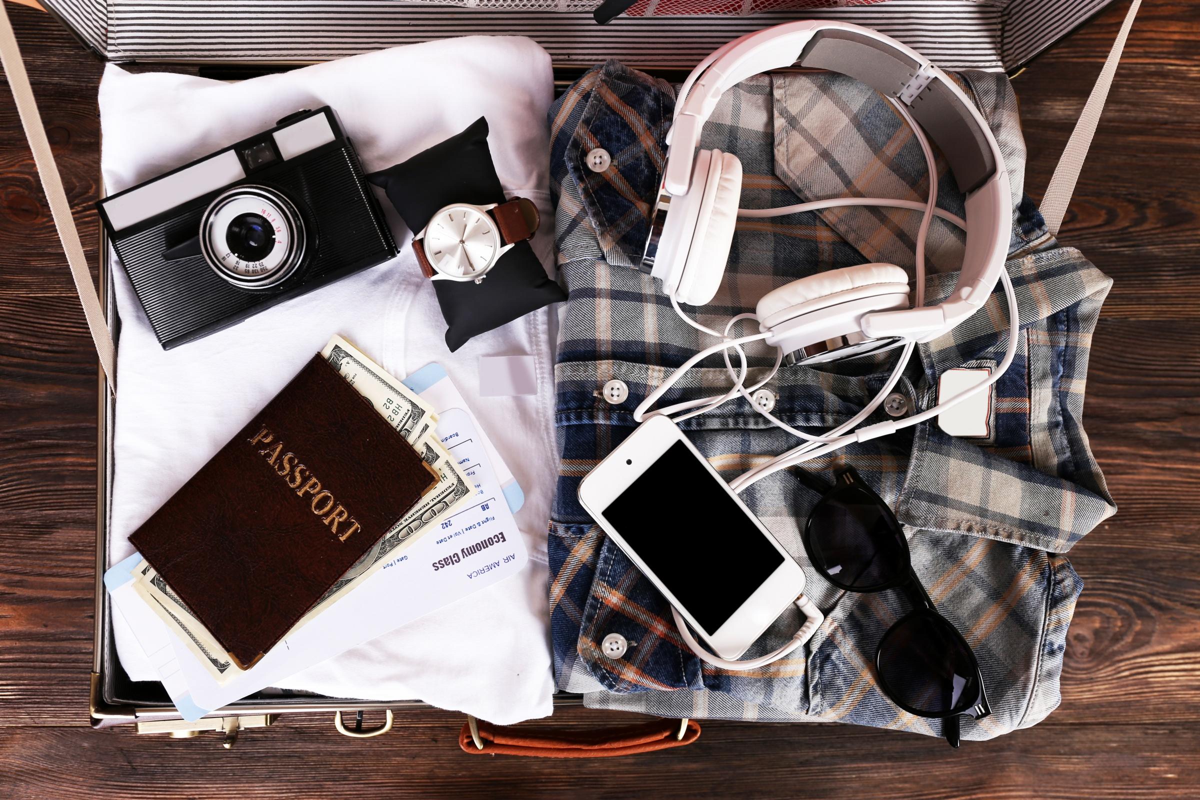 collecion of travel stuff