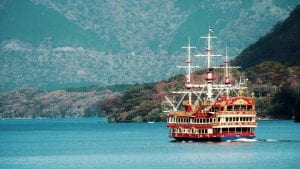 Cruise ship on Ashi lake, in Hakone Japan, included tours offered by Asia Vacation Group