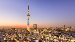 Aerial view of Tokyo city with Tokyo tower in Japan, included in tours offered by Asia Vacation Group