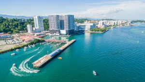 Kota Kinabalu Aerial view of city pier, included in tours offered by Asia Vacation Group