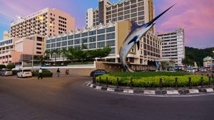 Kota Kinabalu City view fish statue sunset, included in tours offered by Asia Vacation Group