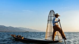 Fisher on Inle lake in Myanmar, included in tours offered by Asia Vacation Group