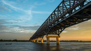 Bridge at sunset at Pakokku , Myanmar