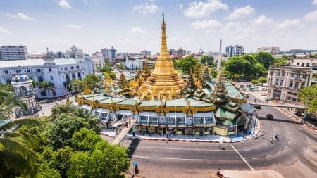 aerial view of Sule Pagoda in Yangon, Myanmar, included in tours offered by Asia Vacation Group
