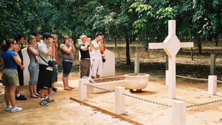 Students visiting Long Tan Cross at Long Tan, Vietnam