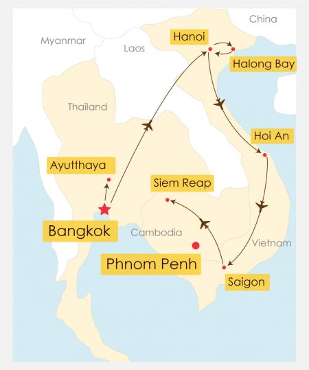 20 Day Southeast Asia Luxury Tour Itinerary Map