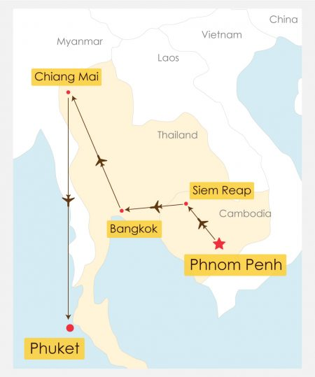 15 Day Thailand Cambodia Discovery With Phuket Beach Break Tour Itinerary Map