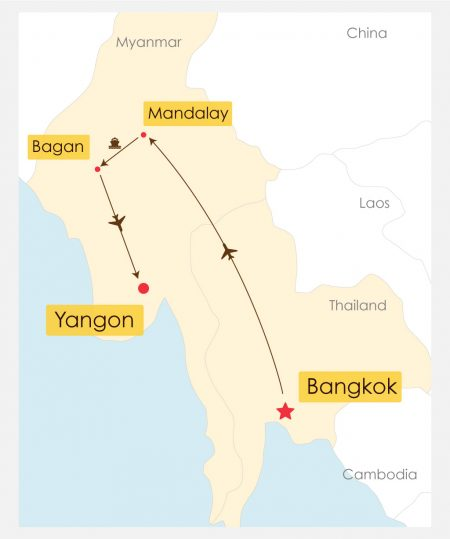15 Day Thailand Myanmar Cruise Tour Itinerary Map