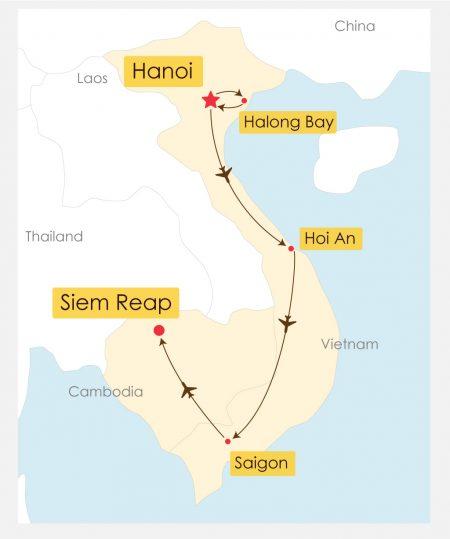 15 Day Vietnam Cambodia Experience Itinerary Map