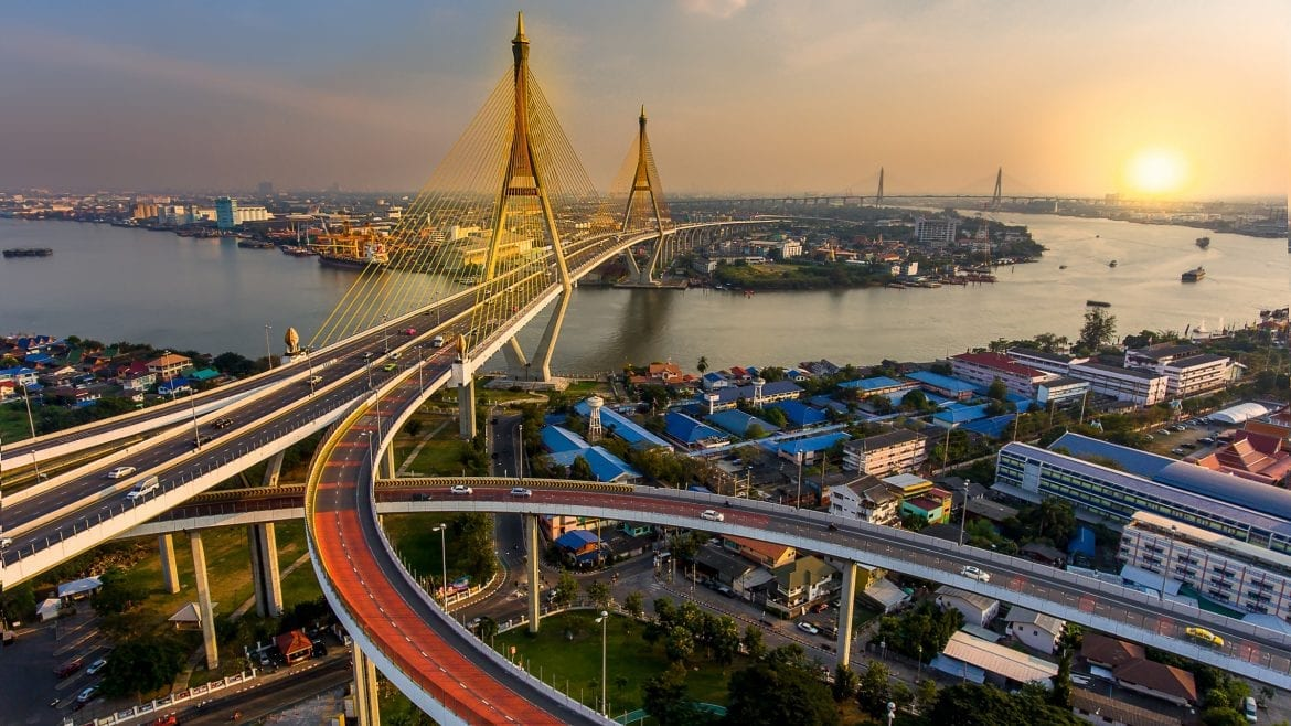 River bridge sunset aerial, included in tours offered by Asia Vacation Group