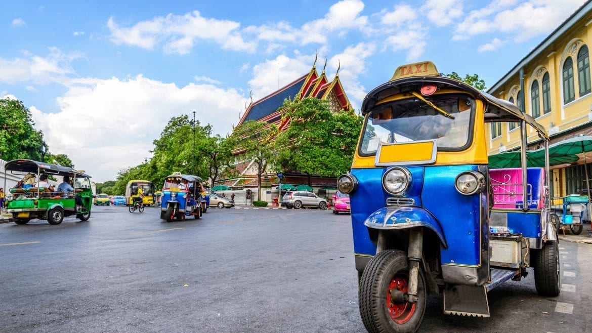Generic Blue Tuk Tuk Taxi, included in tours offered by Asia Vacation Group
