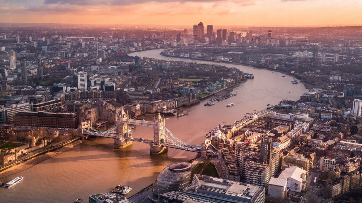 Aerial view of London city, United Kingdom
