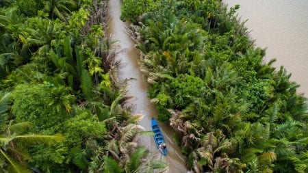 Aerial view of Mekong Delta river in Ben Tre, Vietnam, included in tours offered by Asia Vacation Group