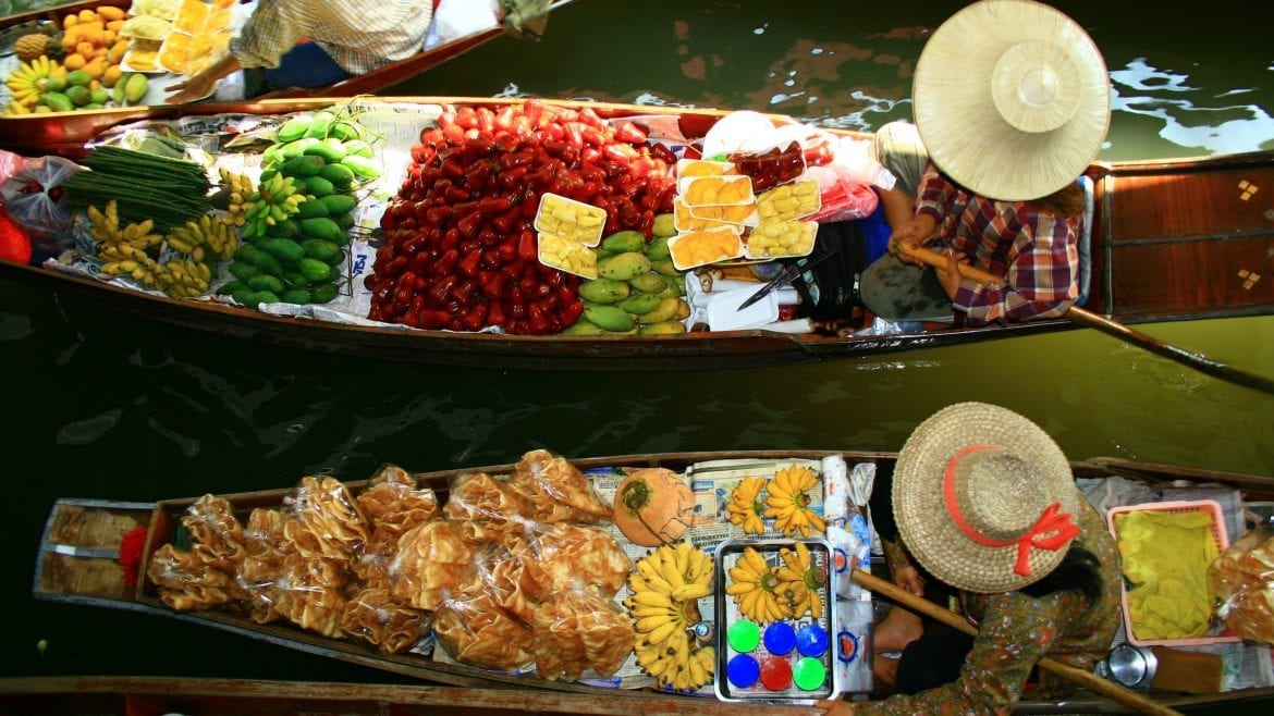 Can Tho Floating market, included in tours offered by Asia Vacation Group