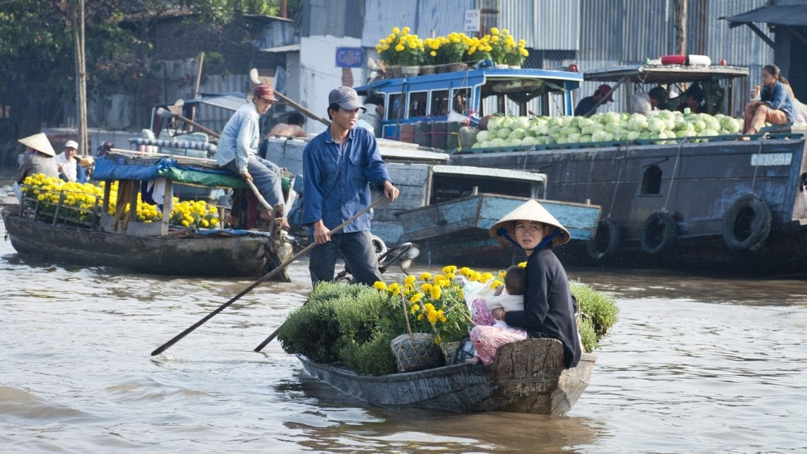Can Tho Floating Village, Vietnam, included in tours offered by Asia Vacation Group