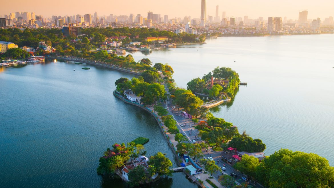 Ha noi West lake thanh nien street aerial view, included in tours offered by Asia Vacation Group