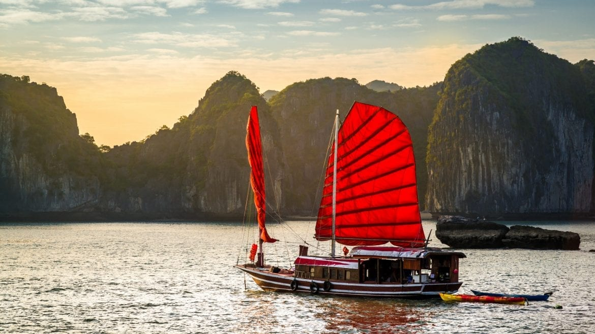 Halong bay Junk Boat, Vietnam, included in tours offered by Asia Vacation Group