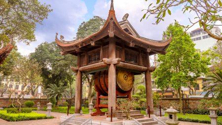 Drum Tower at Temple of Literature in Hanoi, Vietnam