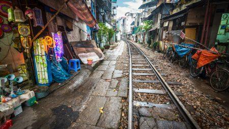 Train tracks in small alley in Hanoi, Vietnam