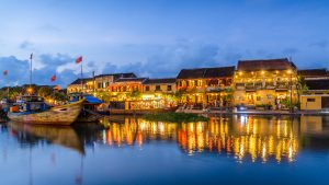 Hoi an Lake on sunset night life, included in tours offered by Asia Vacation Group