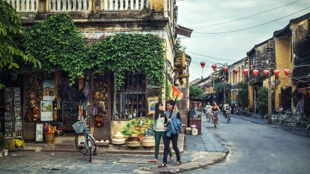 Hoi an Old town street life people walking, included in tours offered by Asia Vacation Group
