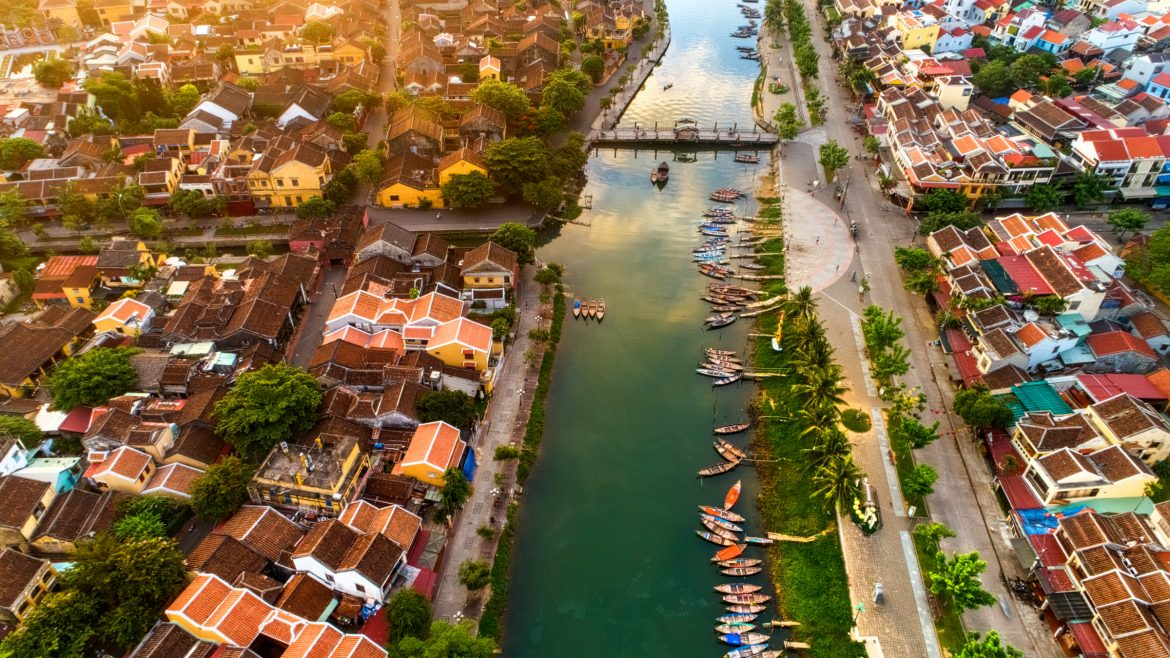 Aerial view of Thu Bon River, Hoi An, included in tours offered by Asia Vacation Group