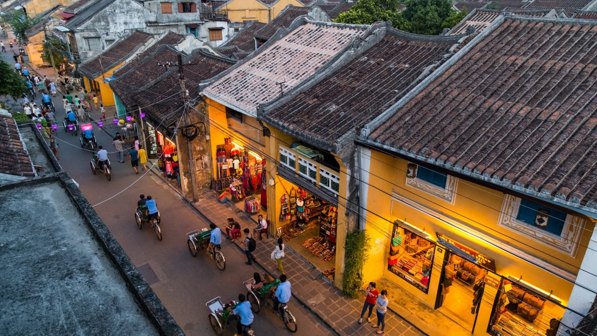 aerial view of street corner in Hoi An, Vietnam, included tours offered by Asia Vacation Group