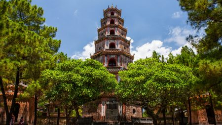 Hue Thien mu pagoda, Vietnam, included in tours offered by Asia Vacation Group