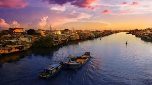 Mekong River scene in Vietnam