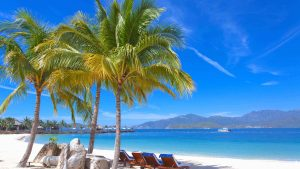 Beach at Tre island in Nha Trang, Vietnam, included in tours offered by Asia Vacation Group