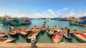 Fishing boat at pier in Phu Quoc, Vietnam, included in tours offered by Asia Vacation Group
