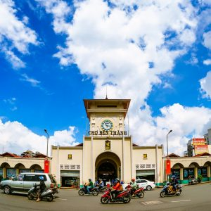 The entrance of Ben Thanh Market,, included in tours offered by Asia Vacation Group