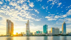 Sai Gon City scene glares sunrise, Vietnam, included in tours offered by Asia Vacation Group