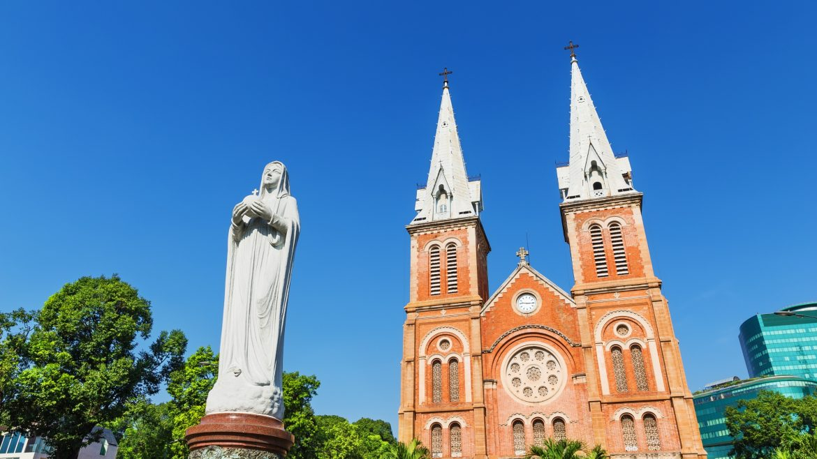 Sai Gon notre dame cathedral basilica, Vietnam, included in tours offered by Asia Vacation Group