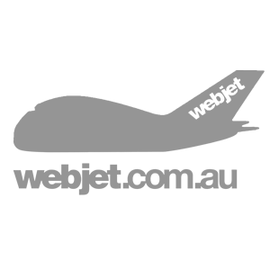Logo of Webjet AU, greyed version