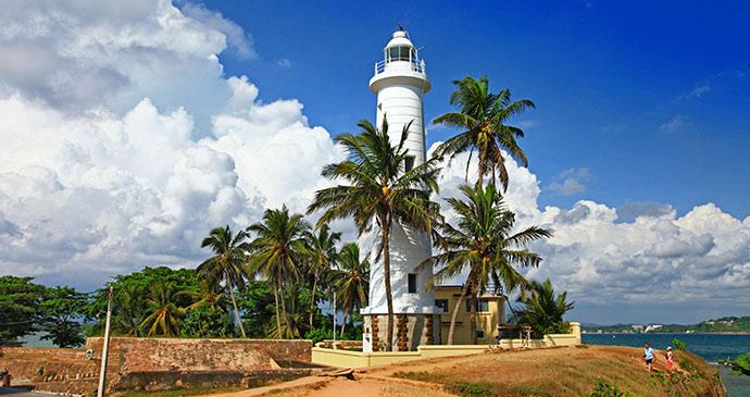 Famous White Light House In Galle Town In Sri Lanka